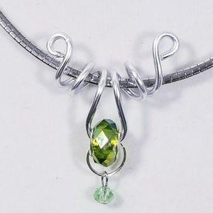 Aluminum Silver Spiral Pendant Lime Green Bead